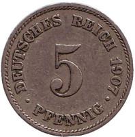 Монета 5 пфеннигов. 1907 год (J), Германская империя.