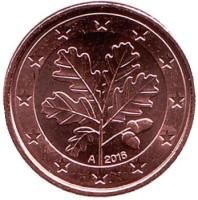 Монета 1 цент. 2016 год (А), Германия.