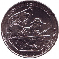 Национальный исторический парк имени Джорджа Роджерса Кларка. Монета 25 центов (D). 2017 год, США.