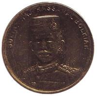 Султан Хассанал Болкиах. Монета 1 сен. 2014 год, Бруней.