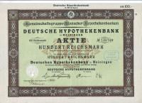 Немецкий ипотечный банк. Акция 100 рейхсмарок. Майнинген, 1925 год, Веймарская республика.