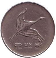 Маньчжурский журавль. Монета 500 вон. 1994 год, Южная Корея.