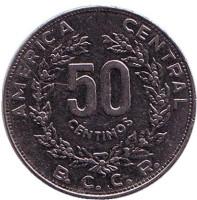Монета 50 сантимов. 1983 год, Коста-Рика.