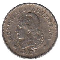 Монета 10 сентаво. 1927 год, Аргентина.