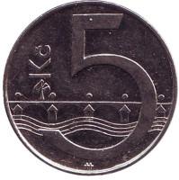 Монета 5 крон. 2013 год, Чехия.