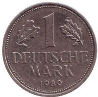 Монета 1 марка. 1989 год (D), ФРГ. Из обращения.