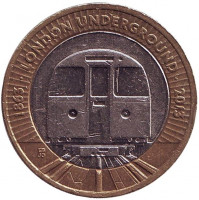 150 лет Лондонскому метро. Поезд. Монета 2 фунта. 2013 год, Великобритания.