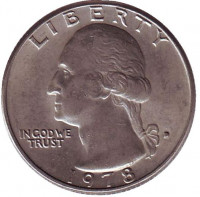 Вашингтон. Монета 25 центов. 1978 (D) год, США.