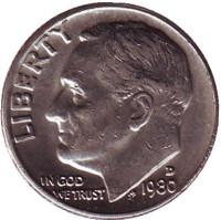 Рузвельт. Монета 10 центов. 1980 (D) год, США.