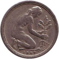 Женщина, сажающая дуб. Монета 50 пфеннигов. 1949 (G) год, ФРГ.
