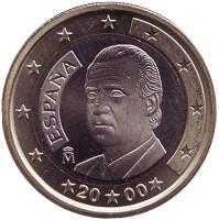 Монета 1 евро. 2000 год, Испания.