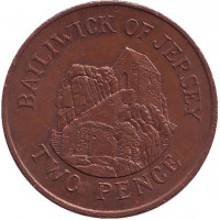 Музей в городе Сент-Хелиер. Монета 2 пенса. 1986 год, Джерси.