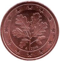 Монета 5 центов. 2016 год (А), Германия.