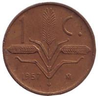 Монета 1 сентаво. 1957 год, Мексика.