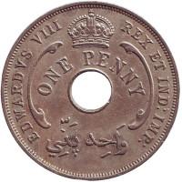 Монета 1 пенни. 1936 год, Британская Западная Африка. (Без отметки монетного двора)