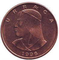 Монета 1 чентезимо. 1996 год, Панама. aUNC.