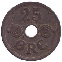 Монета 25 эре. 1945 год, Дания.
