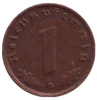 Монета 1 рейхспфенниг. 1939 год (G), Третий Рейх.