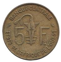 Монета 5 франков. 1967 год, Западные Африканские Штаты.