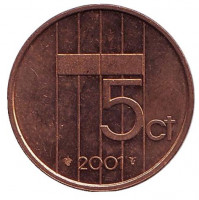 Монета 5 центов. 2001 год, Нидерланды.