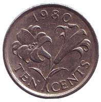 Бермудская лилия. Монета 10 центов. 1980 год, Бермудские острова.