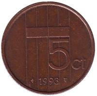 5 центов. 1993 год, Нидерланды.