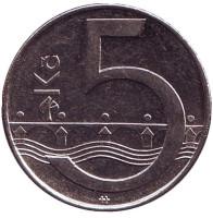 Монета 5 крон. 2015 год, Чехия. Из обращения.