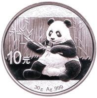 Панда. Монета 10 юаней, 2017 год, Китай.