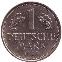 Монета 1 марка. 1989 год (F), ФРГ. Из обращения.