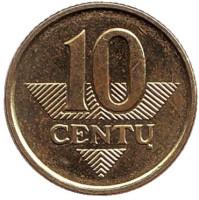 Монета 10 центов. 2007 год, Литва. Из обращения.