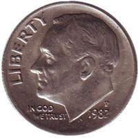 Рузвельт. Монета 10 центов. 1982 (P) год, США.