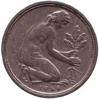 Женщина, сажающая дуб. Монета 50 пфеннигов. 1949 (J) год, ФРГ.