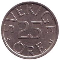 Монета 25 эре. 1978 год, Швеция.