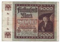 Ганс Имхофф. Рейхсбанкнота 5000 марок. 1922 год, Веймарская республика.