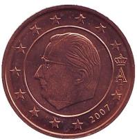 Монета 2 цента. 2007 год, Бельгия.