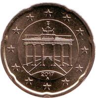 Монета 20 центов. 2017 год (А), Германия.