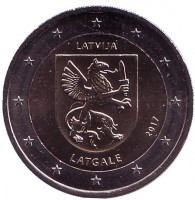 Латгале. Исторические области Латвии. Монета 2 евро. 2017 год, Латвия.