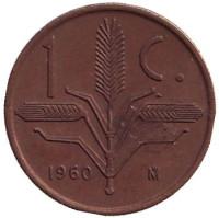 Монета 1 сентаво. 1960 год, Мексика.