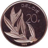 20 франков. 1993 год, Бельгия. (Belgie). BU.