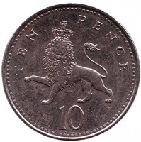 Монета 10 пенсов. 2008 год, Великобритания. (Старый тип)