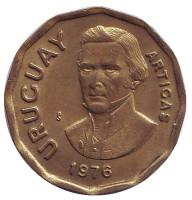 Хосе Артигас. Монета 1 новый песо. 1976 год, Уругвай.