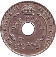 Монета 1 пенни. 1940 год, Британская Западная Африка. (Без отметки монетного двора)