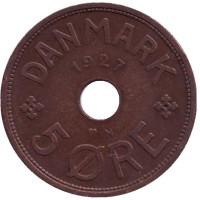 Монета 5 эре. 1927 год (N), Дания.
