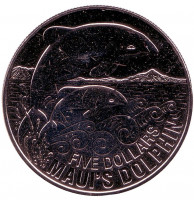 Дельфин Мауи. Монета 5 долларов. 2010 год, Новая Зеландия.