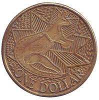 200 лет Австралии. Кенгуру. Монета 1 доллар. 1988 год, Австралия.