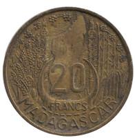 Монета 20 франков. 1953 год, Мадагаскар.