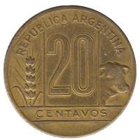 Монета 20 сентаво. 1944 год, Аргентина.