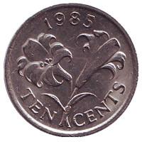 Бермудская лилия. Монета 10 центов. 1985 год, Бермудские острова.