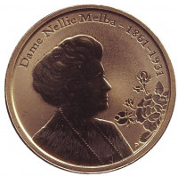 150 лет со дня рождения Нелли Мельбы. Монета 1 доллар. 2011 год, Австралия.