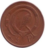 Птица. Ирландская арфа. Монета 1/2 пенни. 1971 год, Ирландия.